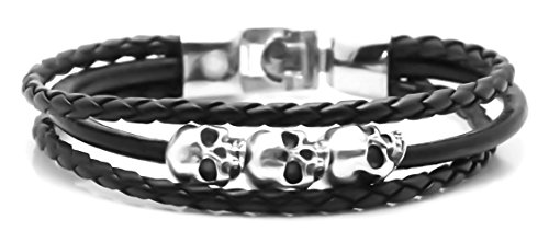 Xusamss Punk Alloy Skull Head Rope Leather Bangle,8.5 Wristband Bracelet