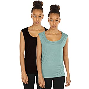 icyzone Yoga Tops Activewear Sleeveless Workout Running Shirts Flowy Tank Tops for Women(L,Black/Agate Green)