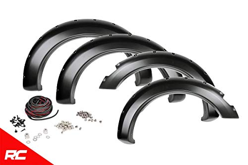 Rough Country Pocket Fender Flares Flat Black (fits) 2019 RAM Truck 1500 Bolt On Style w/Rivets F-D10914