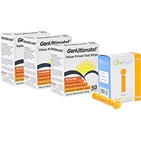 Genultimate Blood Glucose Test Strips for Use with One Touch Ultra, Ultra 2 and Ultra Mini Meter, 150 (3x50) Strips with 100 Lancets by Care Touch