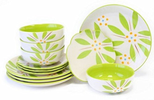 Temp-tations Hand Painted Stoneware 12-pc. Dinnerware Set - Vivid Old World (Lime)