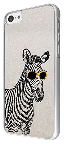 422 - Funny Zebra Sunglasses Design iphone 5C Coque Fashion Trend Case Coque Protection Cover plastique et métal