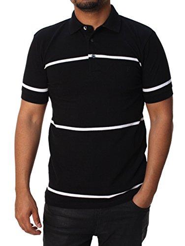 French Connection Men's Muscari Stretch Polo, Black/White Wide Stripe, Small