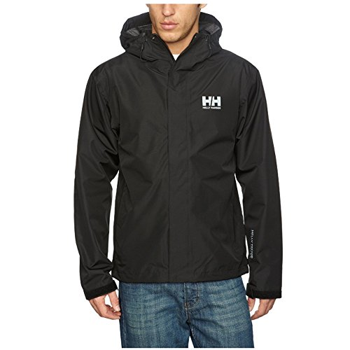 Helly Hansen Men's Seven J Waterproof Windproof Breathable Rain Coat Jacket, 992 Black, Medium