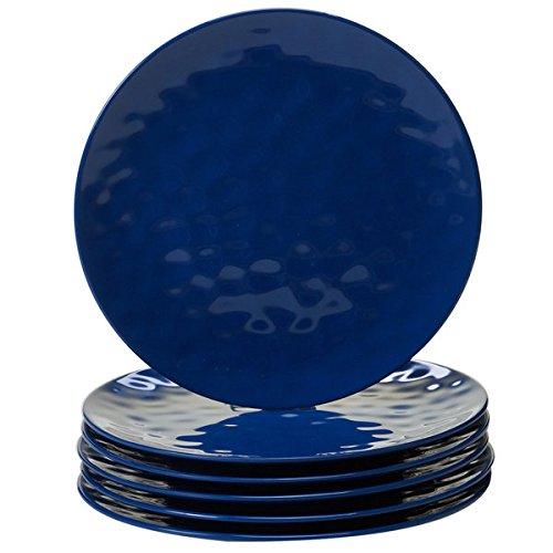 Cobalt Blue Melamine Dinner Plates (Pack of 6)
