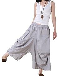 Minibee Women's Big Pockets Crotch Pants/Yogo Wide Leg Trousers