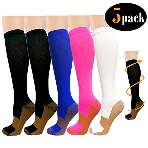 Copper Compression Socks For Women & Men(5 Pairs)- Best For Running,Athletic,Medical,Pregnancy and Travel -15-20mmHg (S/M, Assort2)
