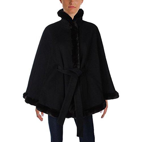Ellen Tracy Outerwear Women's Wool Cape With Faux Fur, Black, (Ellen Tracy Black Wool)