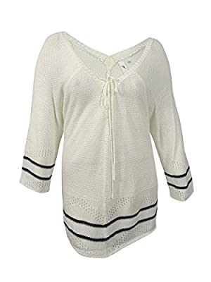 NY Collection Women's Plus Size Lace-up Pointelle Sweater