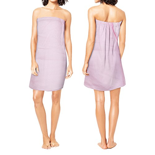 - Corner4Shop Women's 100% Turkish Cotton Waffle Wrap Towel with Adjustable Closure (Pink)