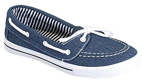 Delight 82 Canvas Lace Up Flat Slip On Boat Comfy Round Toe Sneaker Tennis Shoe, Denim Blue, 10 ()