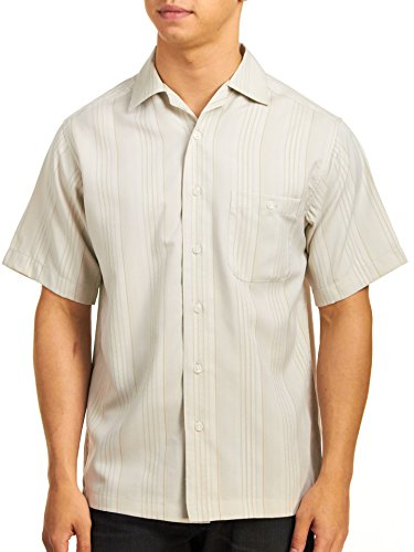 Haggar Men's Crinkle Stripe Microfiber Short Sleeve Shirt, Chinchilla, Small