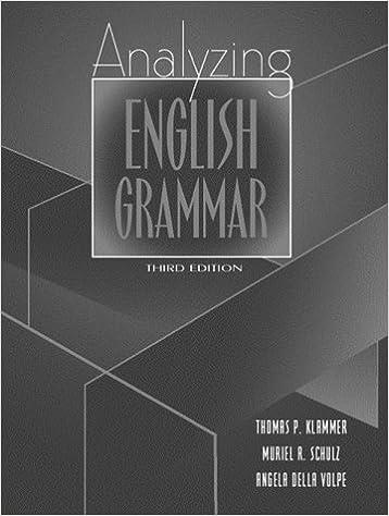 Amazon Com Analyzing English Grammar 3rd Edition 9780205305681 Klammer Thomas P Schulz Muriel R Volpe Angela Della Della Volpe Angela Books