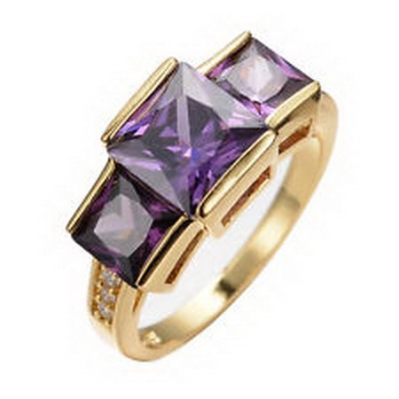 (jacob alex ring New Ring Size 8 Purple Rectangle Cut Amethyst Women's 10Kt Yellow Gold Filled)