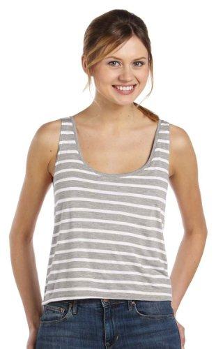 (Bella + Canvas Women'S Flowy Boxy Tank (Stripe-Ath Heather_White) (M))