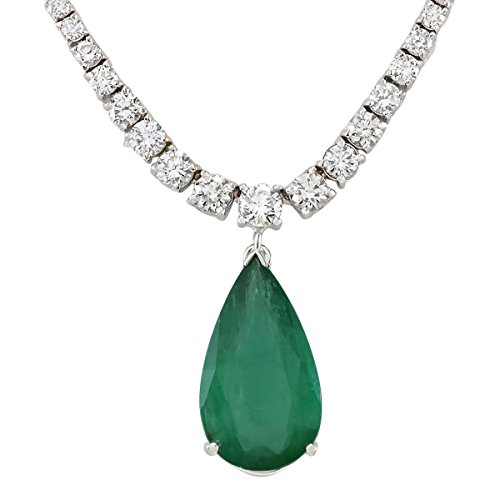 10.83 Carat Natural Green Emerald and Diamond (F-G Color, VS1-VS2 Clarity) 18K White Gold Luxury Drop Necklace for Women Exclusively Handcrafted in USA ()