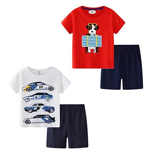 MSsmart Toddler Boys Clothes Summer Outfits Cotton Shirt Short Sets 2 Pack Car&Dog -