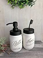 White Mason Jar Decor Rustic Soap Dispenser Bathroom Set Teacher Gift Idea Rustic Distressed Pint JARS Lotion Pump