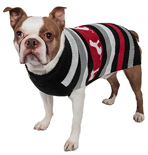 (PET LIFE 'Dog Patterned' Stripe Designer Fashion Ribbed Turtle Neck Pet Dog Sweater, Small, Red, Black and Grey)