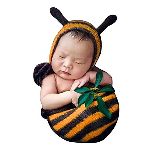 Crocheted Baby Bees Outfit Newborn Sleeping Bag Photography Props Knitted Photo Prop Blanket
