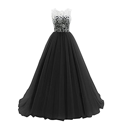 JY FASHION® Womens Ruched Sleeveless Lace Long Evening Dress Prom Gown #01 US 18 Black