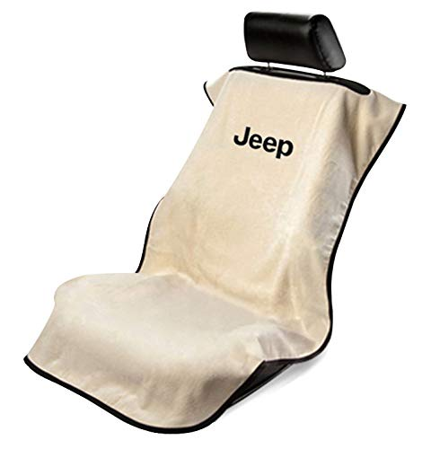 Logo Car Seat Towel - Seat Armour - Tan Towel Seat Cover with Jeep Letters Logo (SA100JEPT)