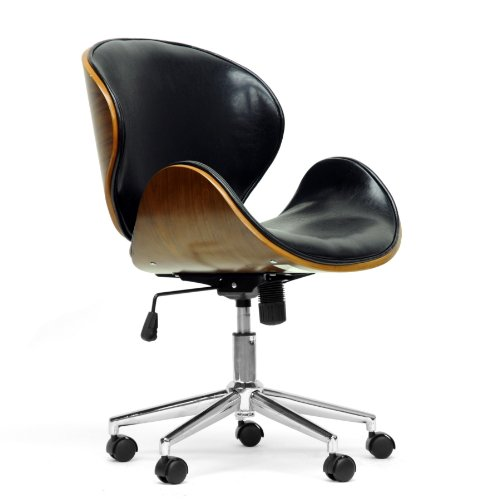 (Baxton Studio Bruce Modern Office Chair, Walnut/Black)