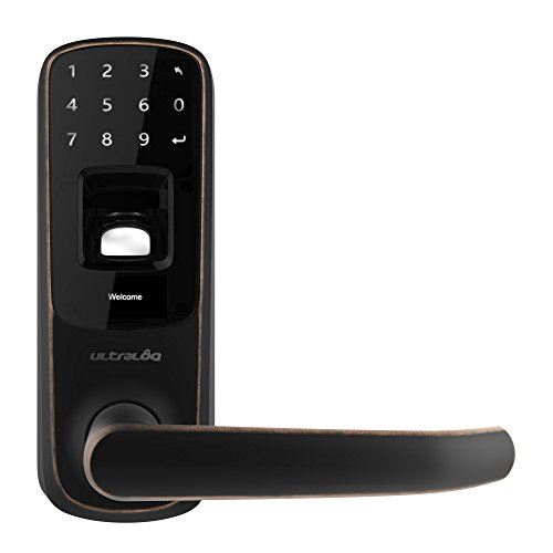 Ultraloq UL3 Fingerprint and Touchscreen Keyless Smart Lever Door Lock (Aged Bronze)