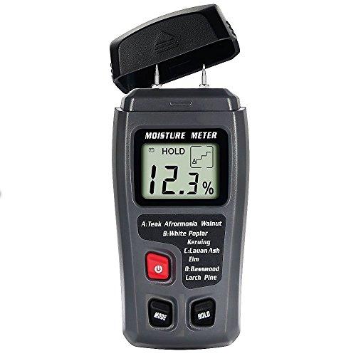 E-More Digital Moisture Meter Wood Moisture Meter ± 0.5% Accuracy 4 Calibrated Wood Detector Moisture Meter 2 pins Wood Portable Moisture Tester Water LCD Display (Black)