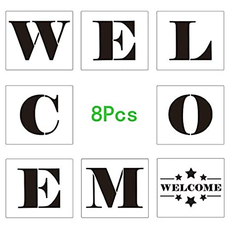 image regarding Welcome Signs Template named 8Personal computers Reusable Welcome Portray Stencils Scale Template Sets, Sy Thick Phrase Stencils for Portray Wooden Porch Indications, Hire upon a Wall, Cloth and