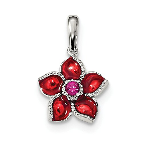 (925 Sterling Silver Created Red Ruby Enamel Flower Pendant Charm Necklace Gardening Fine Jewelry Gifts For Women For Her)