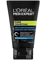 L'Oreal Paris Men Expert Face Scrub, Pure Charcoal Anti-Blackhead Scrub With Oak Charcoal , 100 Milliliters