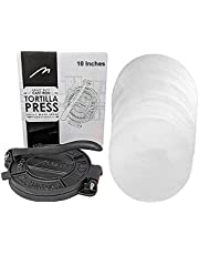 Heavy Duty Pre-seasoned Cast Iron 10 Inches Maquina Tortilla Press Maker Roti Pita Pataconera with 100 parchment paper. Free Replacement, If Damaged in 30 Days