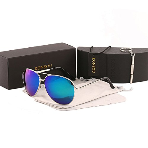 Ronsou Men Women Aviator Polarized Sunglasses UV400 Mirror eyewear For Driving Fishing Outdoor silver frame/blue_green lens Blue Eyewear