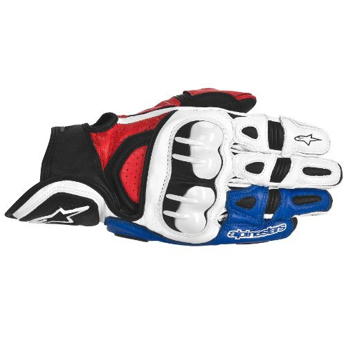 Alpinestars GPX Leather Gloves , Gender: Mens/Unisex, Distinct Name: White/Red/Blue, Primary Color: White, Size: XL, Apparel Material: Leather 3567013-237-XL
