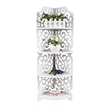 ZJchao White Hollow Carved 4 Tier Corner Shelf Bookcase Display Cosmetic Storage Bathroom Shelving Unit 80cm