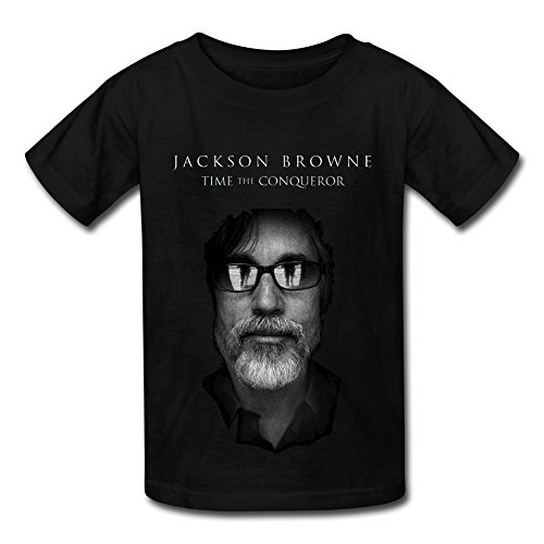 SY Jackson Browne Time The Conqueror Big Boys & Girls Cotton T Shirt Black L (Jackson Browne Rock Elite Best Of Jackson Browne Live)