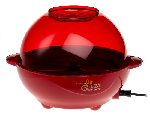 West Bend 82366 6-Quart Stir Crazy Popcorn Popper, Red