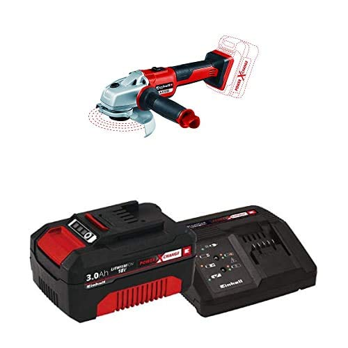 Einhell Axxio Power X-Change 18-Volt Cordless 5-Inch, Brushless Mmotor, 8500 RPM, Angle Grinder/Cutoff Tool, w/Quick Adjust Guard, and Overload Protection, Kit (w/ 3.0-Ah Battery and Fast Charger)