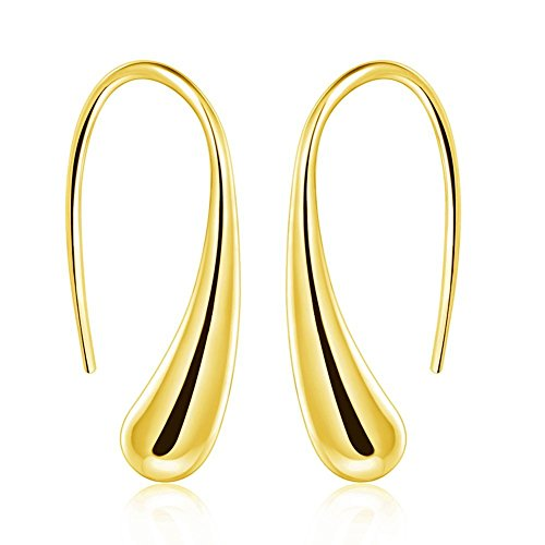 ARMRA Fashion Classic Silver Thread Drop Earrings Teardrop Back Earrings (1 Pair) (Gold) ()