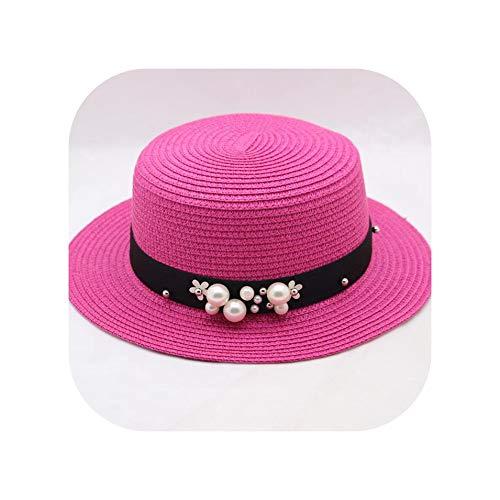 Women Summer Beach Sun Cap Flat Top Straw Hat Men Sailor Hats,Rose red,Adult 56cm-59cm -