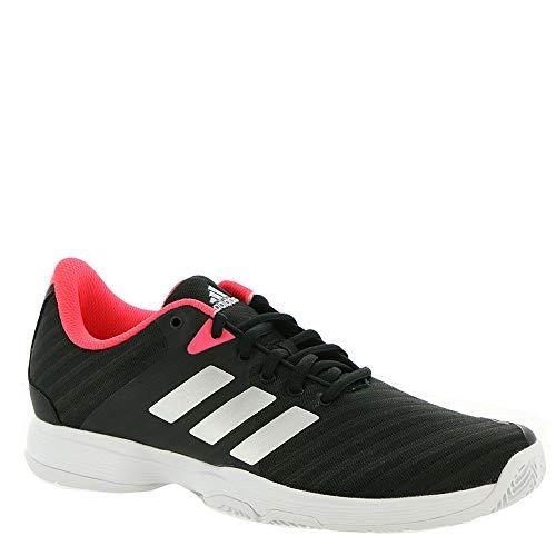 adidas Women's Barricade Court Tennis Shoe, Black/Matte Silver/Flash red, 10 M US