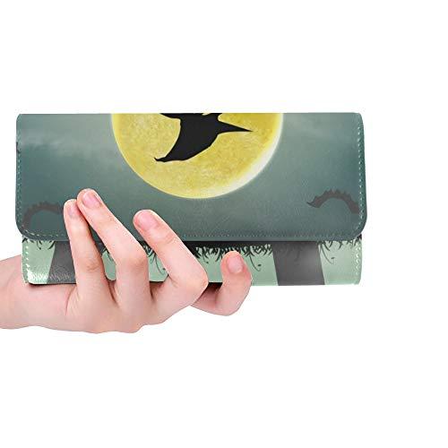 Unique Custom Halloween Silhouette Flying Witch Night Graveyard Women Trifold Wallet Long Purse Credit Card Holder Case Handbag