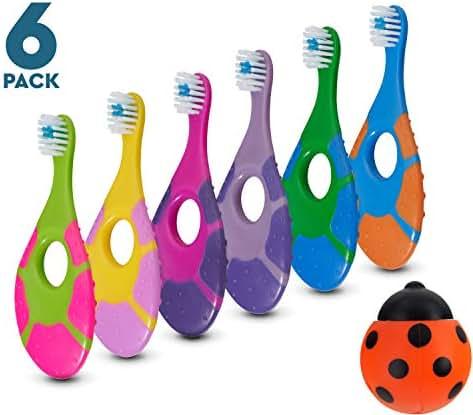 6 Pack - Baby Toothbrush, 0-2 Years, Soft Bristles, BPA Free | Toddler Toothbrush, Infant Toothbrush, Training Toothbrush, Includes Free Toothbrush Holder