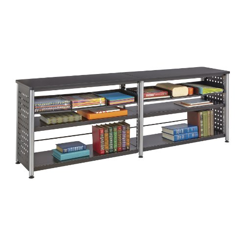 (Safco Products 1600BL Scoot Credenza with 2 Shelves On Each Side, Black)