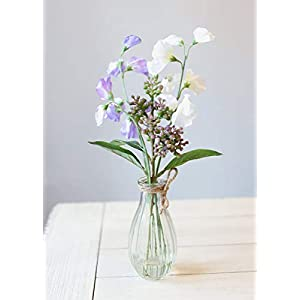 "Artificial Purple Sweet Pea Arrangement in Vase - 13"" Tall 6"