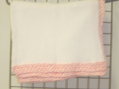 "Bk601, Knitted on Hand Knitting Machine White Cotton 31"" By 45"" Blanket Trimmed By Hand Crochet with Pink Chenille for Newborns and Infants by Gita"