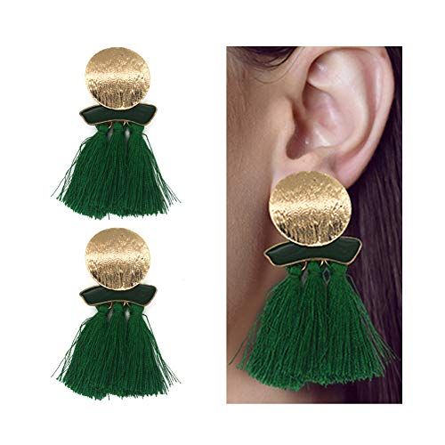 AMCHIC Irregular 3-Layer Silky Thread Fringe Bohemian Statement Dangle Tassel Stud Drop Pendant Fashion Earrings for Women Dangling,Ladies' Gift,Green -