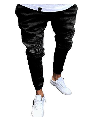 Largo Slim Negro Hombre Jueshanzj Fit Jeans de SwdPx7qR