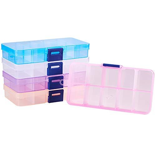 (PH PandaHall 5 Pack 10 Grids Rectangle Plastic Bead Storage Box Case Container Jewelry Organizer, 68 x 129 x 22mm)